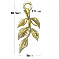 24K Gold Plated Sterling silver Twig with Leaves Charms